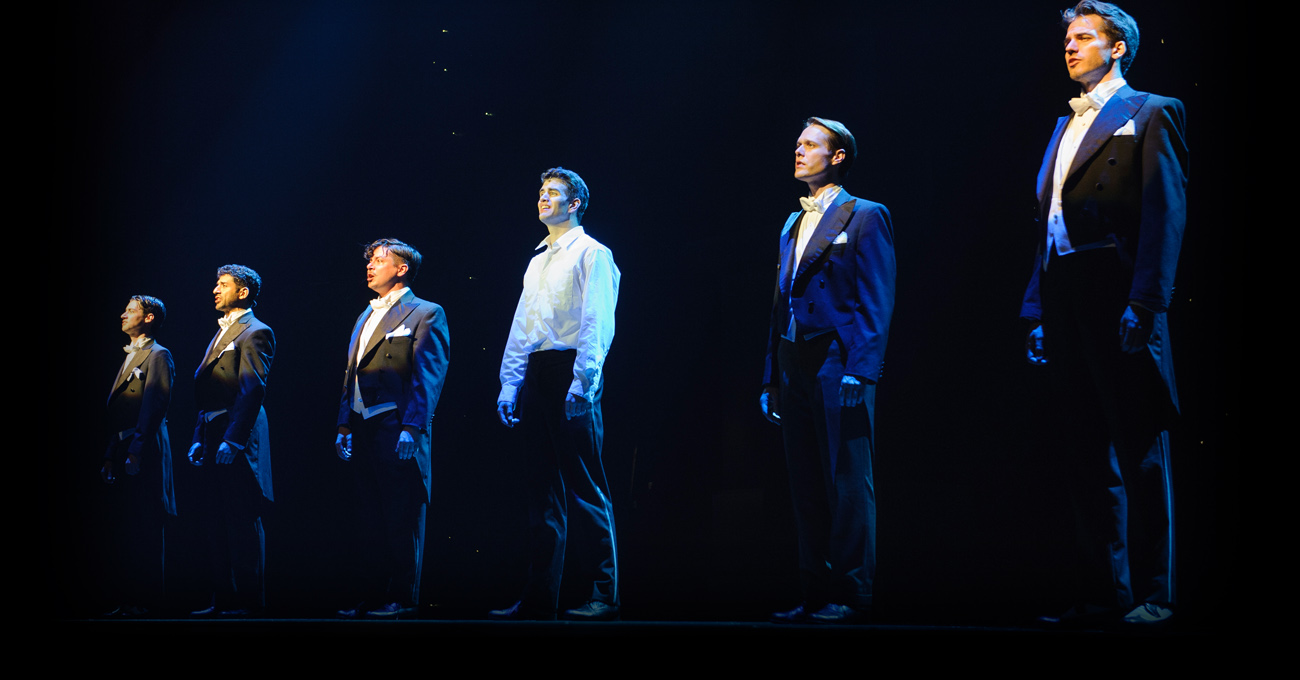 Chris Dwan, Tony Yazbeck, Will Blum, Shayne Kennon, Will Taylor, and Douglas Williams in the Alliance Theatre's 2013/14 production of Harmony – A New Musical. September 6 – October 6, 2013. Photo by Greg Mooney.