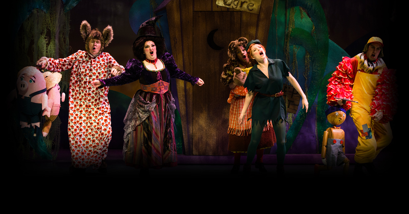 Jeff McKerley, Marcie Millard, Danyé Evonne, Lyndsay Ricketson, and Jeremy Varner in the 2014 production of Shrek the Musical. Photo by Greg Mooney.